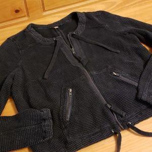 Free People Waffle Zipper Sweatshirt, Small